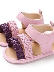 billige -Pige PU Sandaler Spædbørn (0-9m) / Toddler (9m-4ys) Første gåsko Mørkeblå / Fersken / Lys pink Sommer
