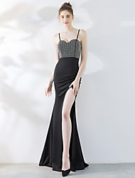 זול -בתולת ים \ חצוצרה רצועות ספגטי שובל סוויפ \ בראש סאטן שמלה עם פרטים מקריסטל על ידי LAN TING Express