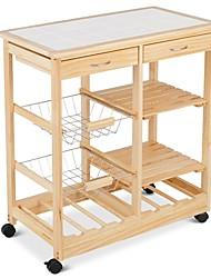 Недорогие -передвижная деревянная кухонная тележка с ящиками для хранения и винным шкафом