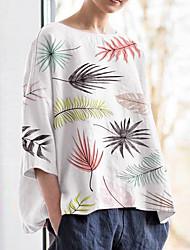 levne -Dámské - Květinový Tričko Bílá US6