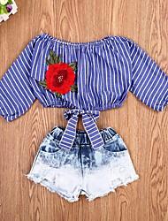 Недорогие -малыш Девочки Активный / Классический Полоски Длинный рукав Короткий Набор одежды Синий
