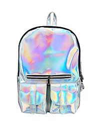 ราคาถูก -สำหรับผู้หญิง ซิป กระเป๋าเป้สะพายหลัง Large Capacity Patent Leather สีทอง / สีม่วง / เงิน