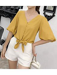 billige -Dame - Ensfarvet Skjorte Hvid US4