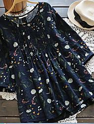 levne -Dámské - Květinový Základní Košile, Krajka Trim Vodní modrá US6
