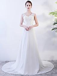 levne -A-Linie Klenot Velmi dlouhá vlečka Šifón Svatební šaty vyrobené na míru s podle LAN TING Express