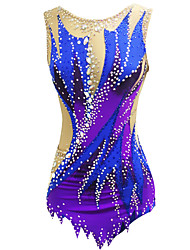 olcso -Ritmikus tornadressz Művészi tornadressz Női Lány Dressz Medence Nagy rugalmasságú Kézzel készített Nyomtatott Gyémánt Ujjatlan Verseny Ritmikus gimnasztika Művészi torna