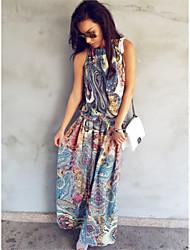 Χαμηλού Κόστους -Γυναικεία Μπόχο Κομψό στυλ street Θήκη Swing Φόρεμα - Γεωμετρικό, Εξώπλατο Patchwork Στάμπα Μακρύ