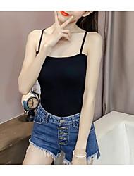Χαμηλού Κόστους -Γυναικεία Αμάνικη Μπλούζα Κομψό στυλ street / Κομψό Μονόχρωμο Με κοψίματα Θαλασσί US0