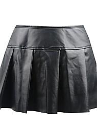 Недорогие -Нормальная Полиуретановая Платья и юбки Супер секси Однотонный Особые случаи Блеск Юбки