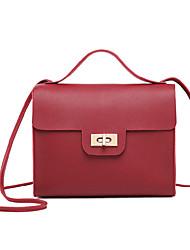 Недорогие -Жен. Мешки PU Сумка с верхней ручкой Сплошной цвет Красный / Розовый / Серый