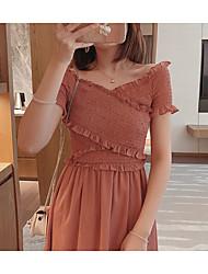 abordables -Mujer Elegante Línea A Vestido - Retazos, Un Color Maxi