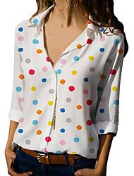 Недорогие -Жен. Рубашка Рубашечный воротник Классический Геометрический принт Белый