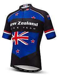 Недорогие -21Grams Новая Зеландия Флаги Муж. С короткими рукавами Велокофты - Буле / черный Велоспорт Верхняя часть Устойчивость к УФ Дышащий Влагоотводящие Виды спорта Терилен / Слабоэластичная