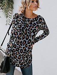 baratos -Mulheres Camiseta Leopardo Preto US2