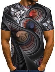 Недорогие -Муж. С принтом Футболка Уличный стиль / преувеличены Контрастных цветов / 3D / Мультипликация Темно-серый US40