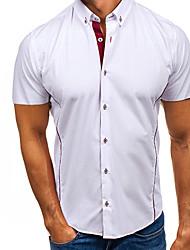 ราคาถูก -สำหรับผู้ชาย เชิร์ต Street Chic สีพื้น ขาว XL