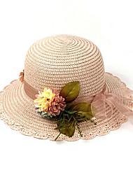 Недорогие -Жен. Активный Классический Симпатичные Стиль Шляпа от солнца Солома,Однотонный Цветочный принт Лето Розовый Бежевый Хаки
