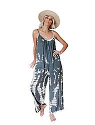 baratos -Mulheres Boho Perna larga Calças - Estampado / Padrão Azul Claro M L XL