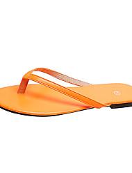 baratos -Mulheres Chinelos e flip-flops Sem Salto Couro Ecológico Verão Laranja / Amarelo / Fúcsia