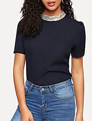 Χαμηλού Κόστους -Γυναικεία Μπλούζα Κομψό Μονόχρωμο Πούλιες Βαθυγάλαζο US6