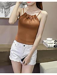 Χαμηλού Κόστους -Γυναικεία Αμάνικη Μπλούζα Κομψό στυλ street / Κομψό Μονόχρωμο Με κοψίματα Μαύρο US0
