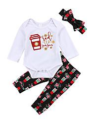 Недорогие -малыш Девочки Активный / Классический С принтом Длинный рукав Короткий Набор одежды Белый