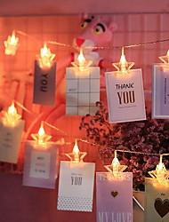 Недорогие -4 м фото клип светодиодные фонари в форме звезды 20 светодиодов теплые белые рождественские гирлянды свадебные украшения валентина 3 В 1 компл.