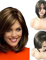 halpa -Synteettiset peruukit Suora Avril Tyyli Bob-leikkaus Suojuksettomat Peruukki Ruskea Beige Synteettiset hiukset 12inch Naisten Klassinen / synteettinen / kuuma Myynti Ruskea Peruukki Lyhyt