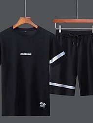 ราคาถูก -สำหรับผู้ชาย Tracksuit กีฬา ตัวอักษรและจำนวน ชุดออกกำลังกาย วิ่ง ชุดทำงาน ระบายอากาศ ไม่ยืดหยุ่น ปกติ