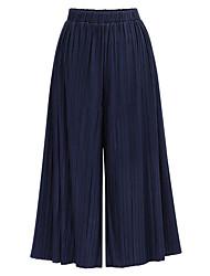 baratos -Mulheres Básico / Moda de Rua Perna larga / Chinos Calças - Sólido Preto / Azul, Clássico / Patchwork Preto Cinzento Escuro Azul Marinha Tamanho Único