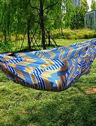 baratos -Rede de Acampamento Ao ar livre Secagem Rápida Decoração ajustável flexível Corda de cânhamo Algodão puro com mosquetões e tiras de árvore para 1 Pessoa Azul + amarelo 270*140 cm