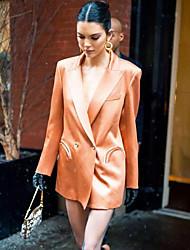 Недорогие -Жен. Повседневные Обычная Куртка, Однотонный Приподнятый круглый Длинный рукав Искусственный шёлк Оранжевый