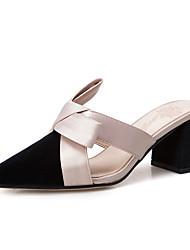 cheap -Women's Clogs & Mules Block Heel Pointed Toe PU(Polyurethane) Casual Walking Shoes Summer Black / Gray