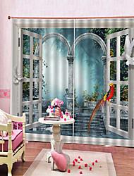 Недорогие -европейские печатные декорации дверей и окон, затенение против морщин, 3d принт шторы спальня и гостиная многофункциональные две панели полиэфирные шторы
