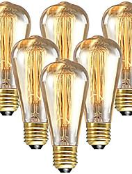 Недорогие -6шт 60 W E26 / E27 ST64 Тёплый белый 2200-2300 k Ретро / Диммируемая / Декоративная Лампа накаливания Vintage Эдисон лампочка 220-240 V