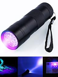 Недорогие -Ультрафиолетовые фонари Водонепроницаемый Светодиодная лампа 5 мм лампа 12 излучатели 1 Режим освещения Водонепроницаемый Ультрафиолетовый свет / Алюминиевый сплав