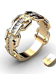 Недорогие -Персонализированные Индивидуальные Прозрачный Цирконий Кольцо Классический Подарок обещание фестиваль Геометрической формы 1pcs Золотой Серебряный
