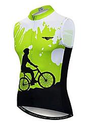 Недорогие -21Grams Муж. Без рукавов Велокофты - Зеленый Велоспорт Джерси Верхняя часть Дышащий Влагоотводящие Быстровысыхающий Виды спорта Полиэстер Эластан Терилен Горные велосипеды Шоссейные велосипеды Одежда
