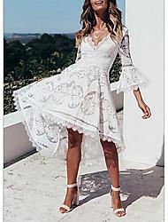 Недорогие -Жен. Элегантный стиль Туника Платье - Однотонный, Сетка Средней длины