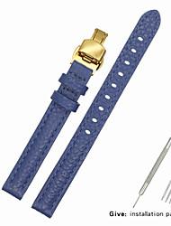 Недорогие -Настоящая кожа / Кожа / Шерсть теленка Ремешок для часов Ремень для Синий Прочее / 17см / 6,69 дюйма / 19cm / 7.48 дюймы 1cm / 0.39 дюймы