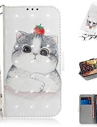 Недорогие -Кейс для Назначение Nokia Nokia 9 PureView Кошелек / Бумажник для карт / Защита от удара Чехол Кот Кожа PU