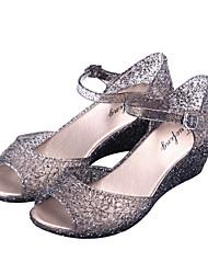 cheap -Women's Sandals Wedge Heel PVC(Polyvinyl chloride) Summer Black / Silver