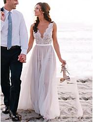 저렴한 -A-라인 쥬얼리 스윕 / 브러쉬 트레인 레이스 / 튤 Made-To-Measure 웨딩 드레스 와 으로 LAN TING Express