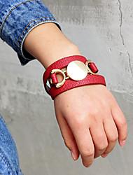 Недорогие -Жен. Wrap Браслеты Длиные Счастливый Мода PU Браслет Ювелирные изделия Красный Назначение Повседневные