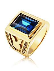 Недорогие -Муж. Кольцо 1шт Темно-синий Красный Синий Титановая сталь Стекло Необычные Винтаж Классический Мода Свадьба Для вечеринок Бижутерия Старинный