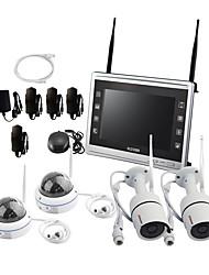 Недорогие -все-в-1 система беспроводных камер видеонаблюдения с 12-дюймовым ЖК-монитором, 4-канальный 1080p, домашний Wi-Fi, видеонаблюдение, видеорегистраторы, видеонаблюдение, IP-камеры 2шт.,