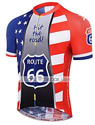 Недорогие -21Grams Американский / США Флаги Муж. С короткими рукавами Велокофты - Красный + синий Велоспорт Джерси Верхняя часть Дышащий Влагоотводящие Быстровысыхающий Виды спорта Терилен Горные велосипеды