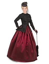 Недорогие -Cerridwen Богиня Викторианский стиль Костюм для вечеринки Жен. Костюм Красный / черным Винтаж Косплей На каждый день Длинный рукав В пол С пышной юбкой Большие размеры