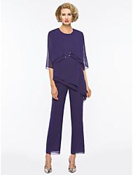 저렴한 -투피스 / 팬티 슈트 쥬얼리 발목 길이 쉬폰 신부 어머니 드레스 와 루시 주름 장식 으로 LAN TING Express