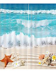 Недорогие -Декор для дома Прозрачные волны Печатные оконные шторы Спальня Гостиная Звукоизолированная плотная ткань